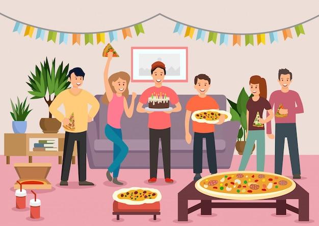 Groupe de dessin animé de gens joyeux manger une pizza