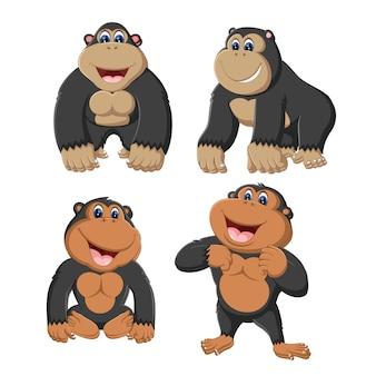 Un groupe de dessin animé de gorilles