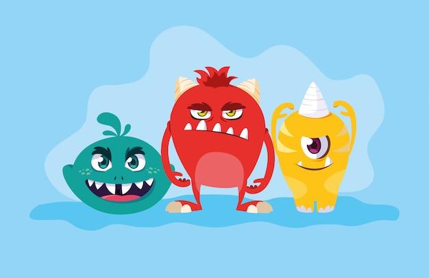 Groupe de dessin animé de monstres