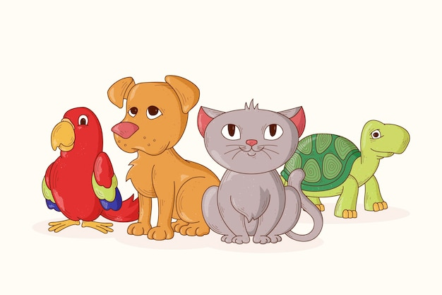 Groupe de différents animaux adorables