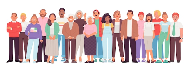 Groupe diversifié et multiculturel de personnes sur fond blanc. une foule de personnages joyeux, jeunes, adultes et plus âgés, hommes et femmes. illustration vectorielle dans un style plat