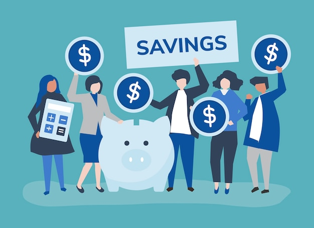 Groupe diversifié de personnes et illustration de concept d'épargne