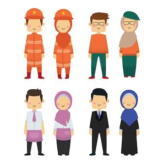 Groupe de la diversité des travailleurs avec un fond blanc.