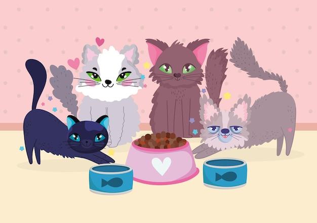 Groupe drôle de chats animaux avec illustration vectorielle de poisson en conserve et bol de nourriture