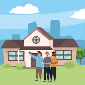 Groupe du millénaire prenant selfie house porche