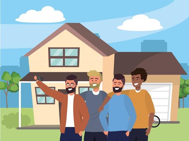 Groupe du millénaire prenant selfie house