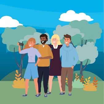 Groupe du millénaire prenant selfie nature