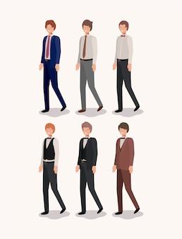 Groupe d'élégants messieurs vector illustration design