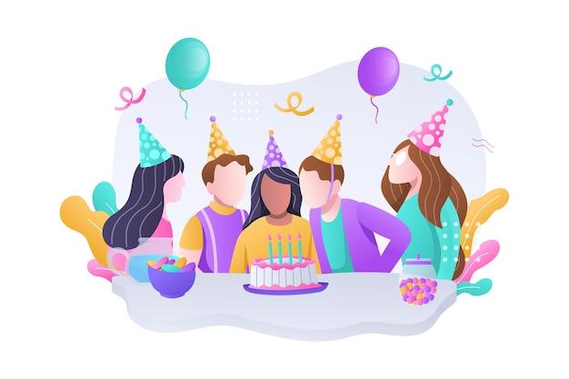 Groupe d'enfant heureux célébrant la fête d'anniversaire avec illustration de gâteau et ballons