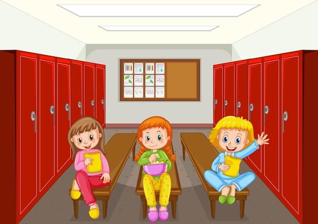 Groupe d'enfants au vestiaire