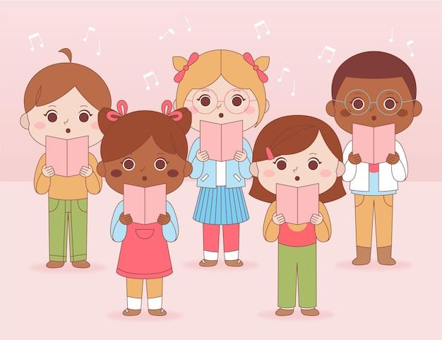 Groupe d'enfants chantant dans une illustration de la chorale