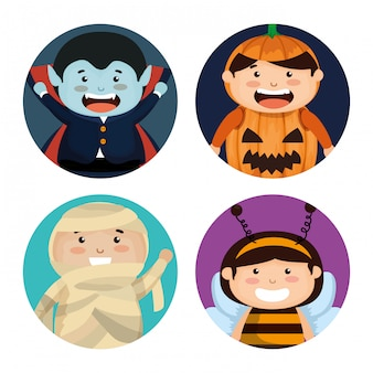Groupe d'enfants déguisés à halloween