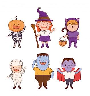 Groupe d'enfants déguisés pour la conception d'illustration vectorielle halloween heureux