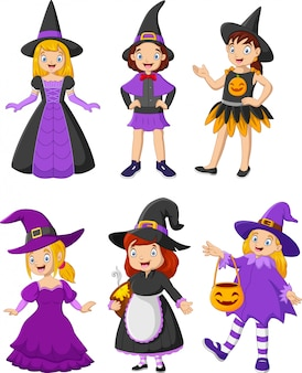 Groupe d'enfants de dessin animé portant des costumes différents