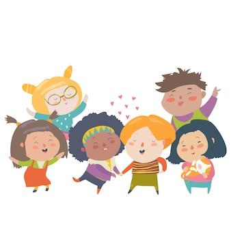 Groupe d'enfants de différentes nationalités et couleurs de peau