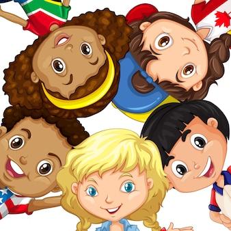 Groupe d'enfants différents