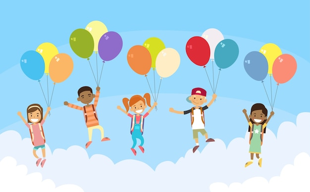 Groupe d'enfants fly sky hold balloons