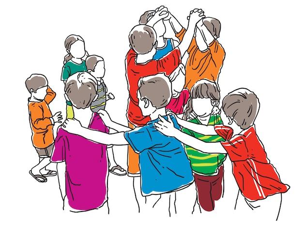 Groupe d'enfants, jouer, traditionnel, serpent, jeu, dessin au trait