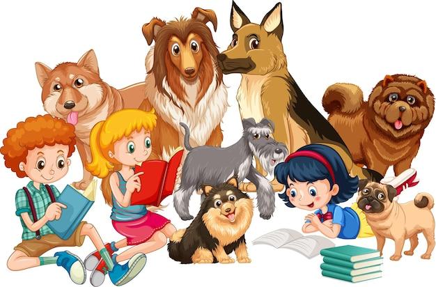Groupe d'enfants avec leurs chiens