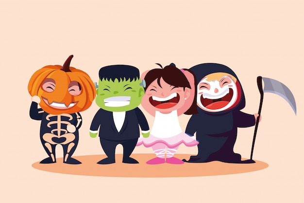 Groupe d'enfants mignons déguisés pour halloween