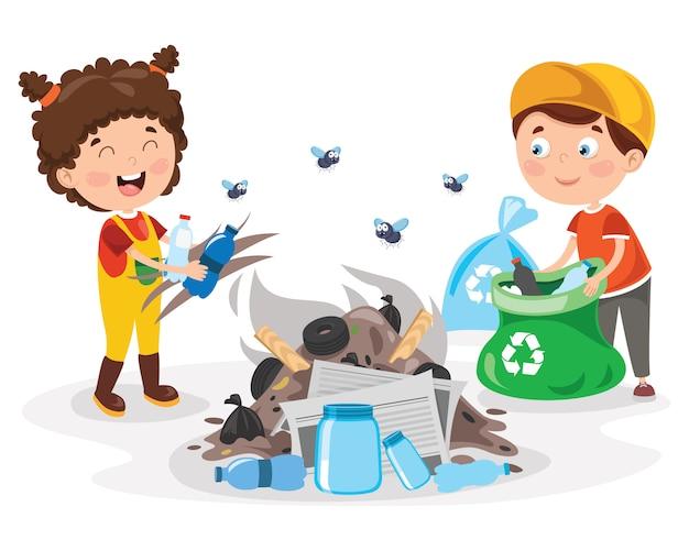 Groupe d'enfants recyclantpetits enfants nettoyant et recyclant les ordures