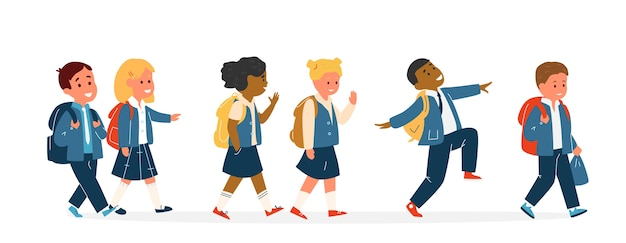 Groupe d'enfants souriants course différente en uniforme scolaire avec sacs à dos marche. élèves du primaire. illustration.