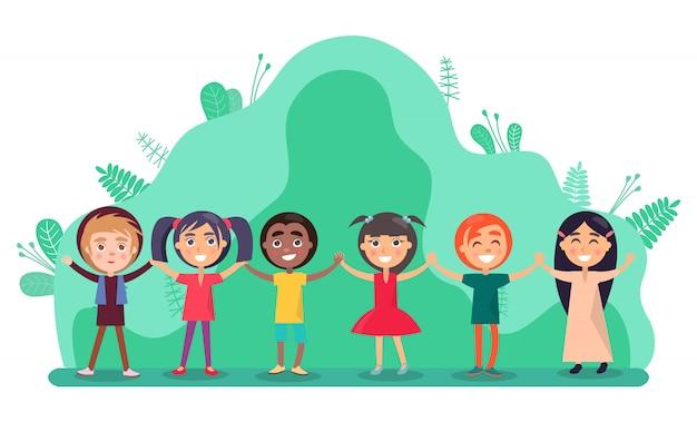 Groupe d'enfants tenant par la main, vecteur d'amitié