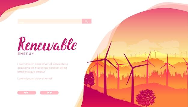 Groupe d'éoliennes utilisant pour produire de l'électricité. parc éolien, parc au coucher ou au lever du soleil.