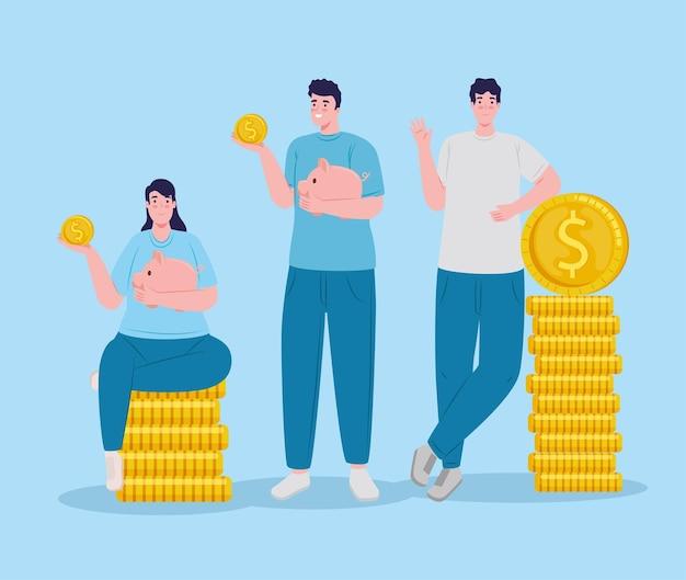 Groupe d'épargnants soulevant des économies de piggy assis dans l'illustration de pièces de monnaie