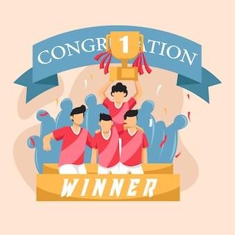 Groupe d'équipe de joueurs de football célébrant la victoire et devenant champion
