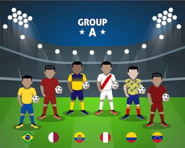 Groupe de l'équipe nationale de football un personnage plat pour la compétition américaine