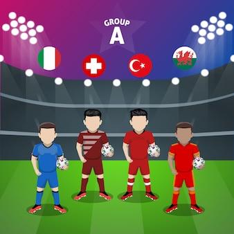 Groupe de l'équipe nationale de football un personnage plat pour la compétition européenne
