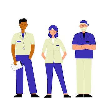 Groupe d'une équipe de professionnels de la santé illustrée