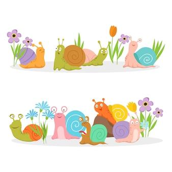 Groupe d'escargots de personnage de dessin animé avec des fleurs