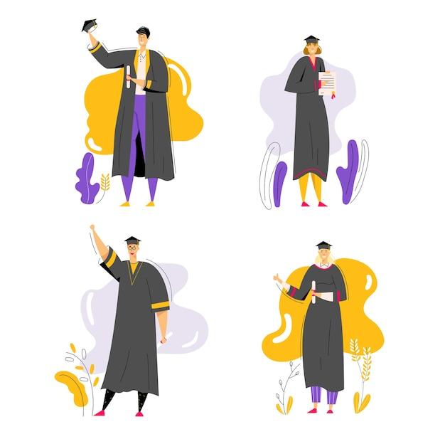 Groupe d'étudiants diplômés avec diplôme. concept d'éducation d'obtention du diplôme de personnages homme et femme. diplômé du collège universitaire.