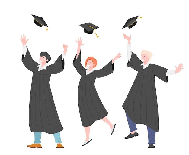 Groupe d'étudiants diplômés heureux jettent une casquette diplômée