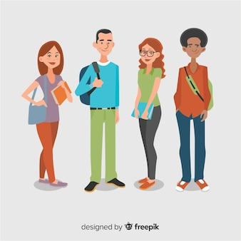 Groupe d'étudiants heureux avec un design plat