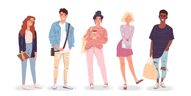 Groupe d'étudiants. illustration des jeunes.