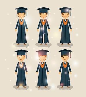 Groupe d'étudiants masculins diplômés caractères