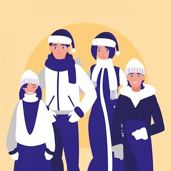 Groupe de famille avec des vêtements de noël