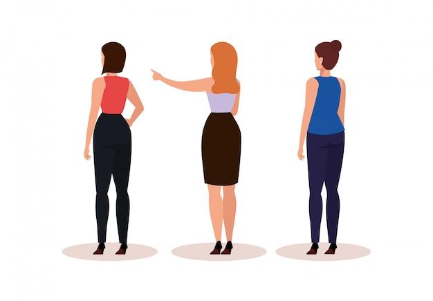 Groupe de femmes d'affaires de caractère avatar de dos