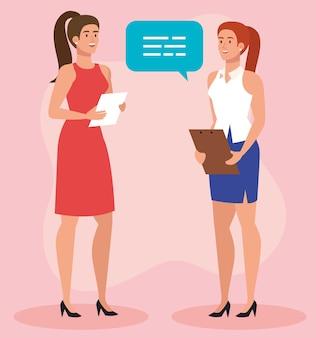 Groupe de femmes d'affaires élégantes avec bulle de dialogue et conception d'illustration de document