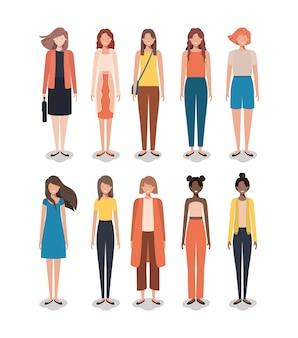 Groupe de femmes amis personnages