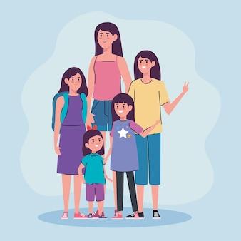 Groupe de femmes de caractères d'âge différents