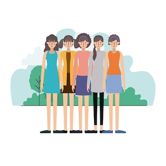 Groupe de femmes dans le paysage de terrain