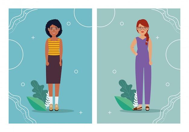 Groupe femmes debout et feuilles tropicales