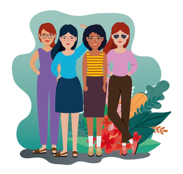 Groupe femmes, debout, à, feuilles, tropicals