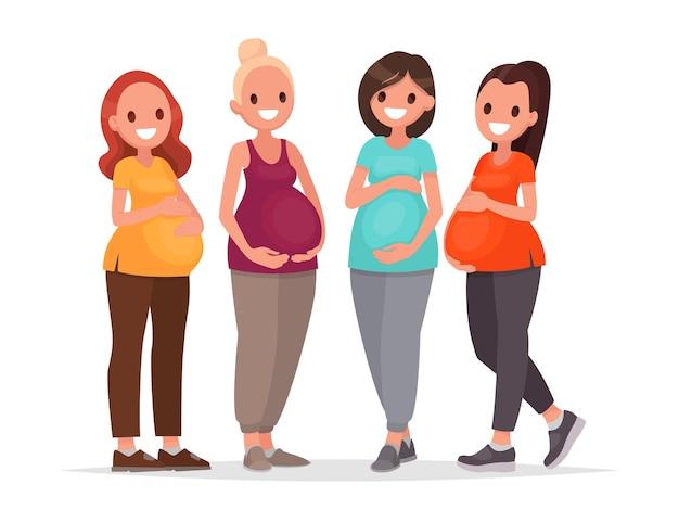 Groupe de femmes enceintes. les futures mamans en prévision du bébé. dans un style plat