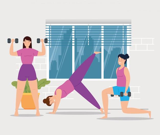 Groupe de femmes entraînement à domicile vector illustration design