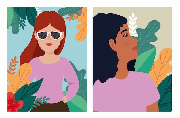 Groupe, femmes, à, exotiques, feuilles, scènes, avatar, caractère